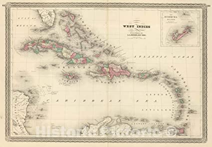 Map Of I 84 New York.Amazon Com Historic Map Johnson S West Indies Published By A J