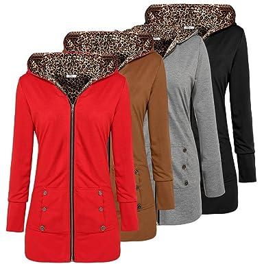 e1cfa4807a3 Modfine Femmes Vest a Capuche Leopard Fermeture Veste Cardigan Outwear  Simple Pull Top