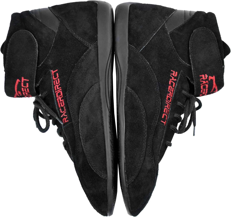 Racerdirect SFI 3.3//5 Race Shoes MID TOP Racing Shoes Suede Black Size Mens 9 Womens 11