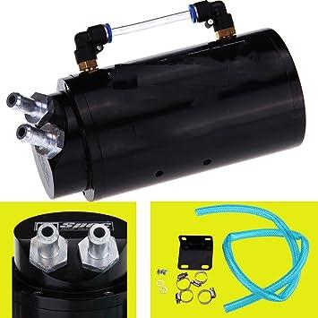 iglobalbuy universal aluminio Motor Motor aceite Catch lata Reserva Reservorio Breather Cilindro con manguera