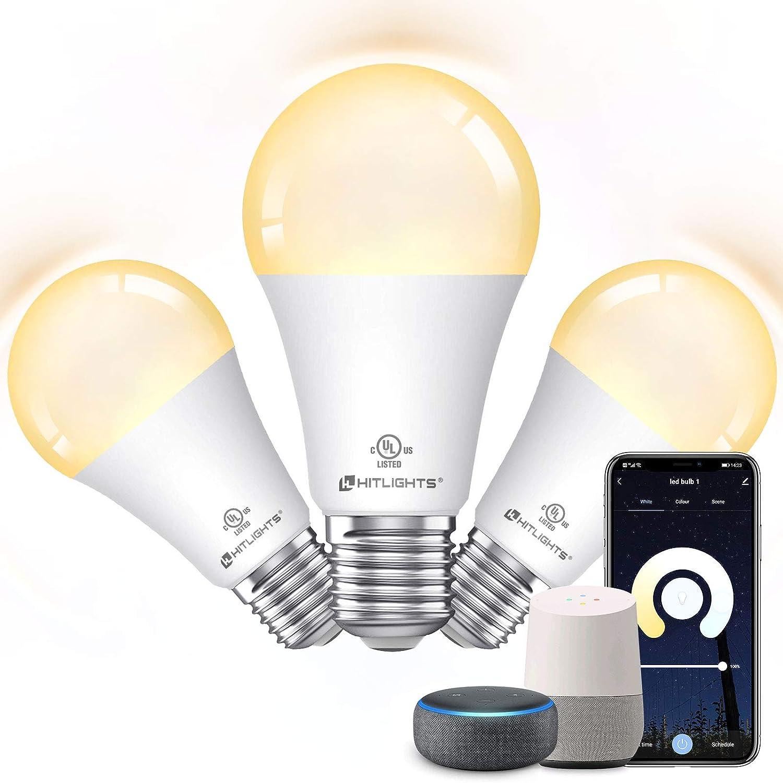 Smart Light Bulb, HitLights Dimmable WiFi LED Light Bulbs Work with Alexa Google Home, A19 E26 9.5W(60 Watt Equivalent), 800Lumen Tunable 2700-5000K for Home Living Room(3Pack UL Listed FCC)