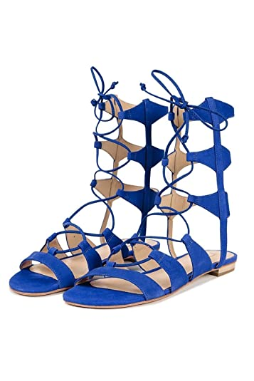 f58be4fe3 SCHUTZ ERLINA Santorini Blue Suede TIE UP Flat Gladiator Sandals (5)