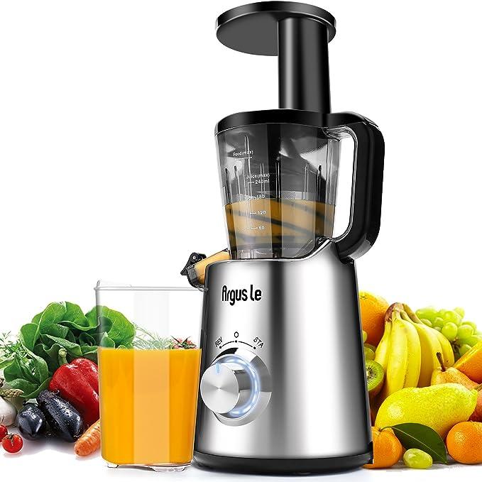 Argus Le Slow Juicer, Compact Design Masticating Juicer, High Nutrient Cold Press Juicer ¡ (Sliver)