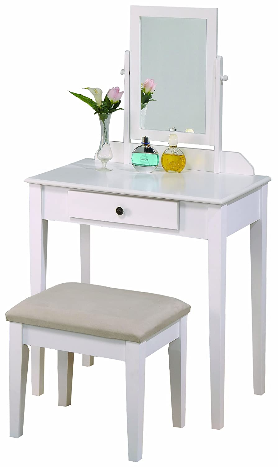 Crown Mark Iris Vanity Table Stool, White Finish with Beige Seat