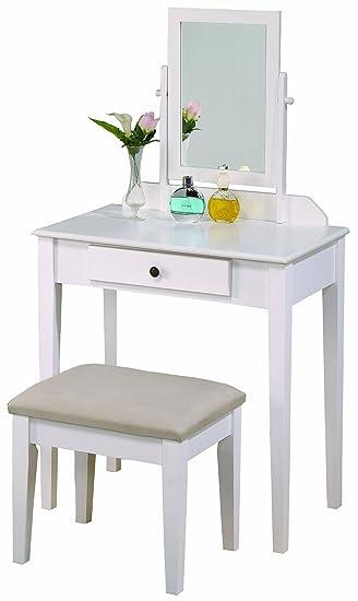 Amazon.com: Crown Mark Iris Vanity Table/Stool, White Finish with ...