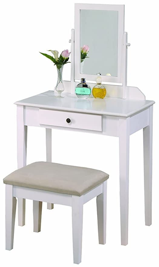 meet 90604 48b3a Crown Mark Iris Vanity Table/Stool, White Finish with Beige Seat