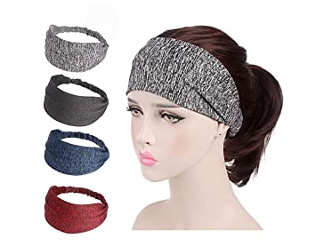 Amazon.com   Women Elastic Turban Head Wrap Lightweight Working out  Headband Hair Band (4 Pack-2)   Beauty 26ac0509e3