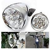 Shsyue® Faro Frontal de Bicicleta, 7 LED, Retro, Diseño de on/off Interruptor, Funciona con Pilas