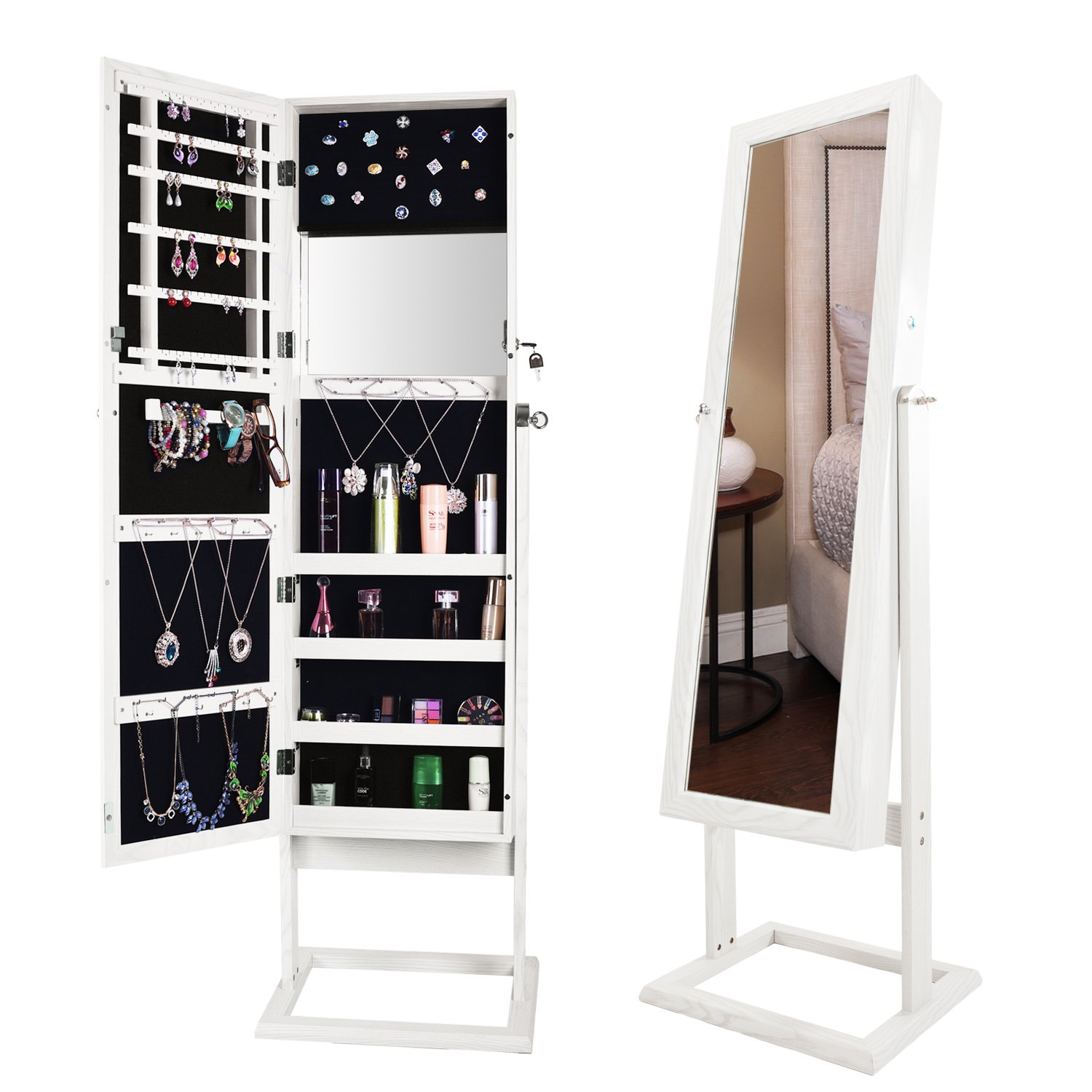 Bonnlo Jewelry Armoire Square Stand with 4 Adjustable Angle Tilting, Well Packed by styrofoam & Stiffer Covering, Lockable Heavy Duty Bedroom Make up Mirror Cabinet Organizer Closet by Bonnlo (Image #1)