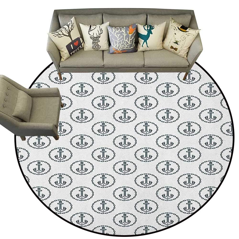 Style01 Diameter 60(inch& xFF09; Anchor,Personalized Floor mats Vintage Sketch Style Monochrome Rope Arrangement Naval Equipment Illustration D54 Floor Mat Entrance Doormat