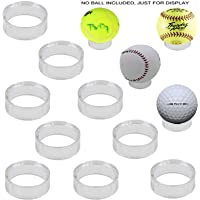 Soporte para pelotas de béisbol, 10 unidades, transparente, 1-1/2 pulgadas, acrílico, esfera, funda para pelotas, pelota de golf, tenis, softballs y huevos de mármol, estante redondo para pedestal, anillo biselado – sin bola