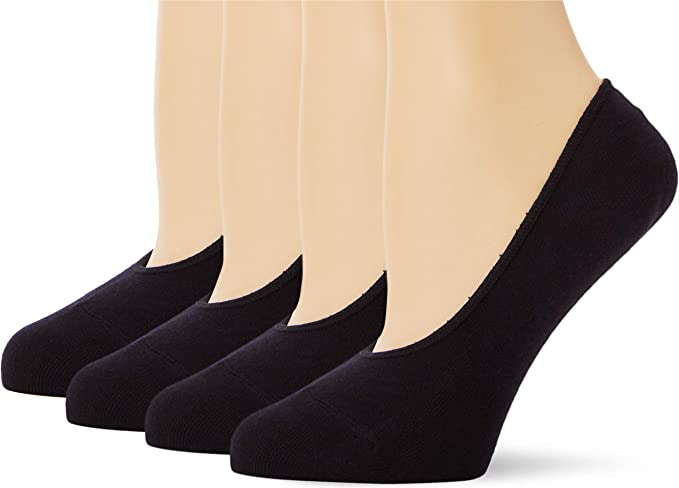 Marca Amazon - MERAKI Calcetines Invisibles de Algodón Mujer, Pack de 4, Negro (Black), 36-38 EU, Label: 3-5 UK: Amazon.es: Ropa y accesorios