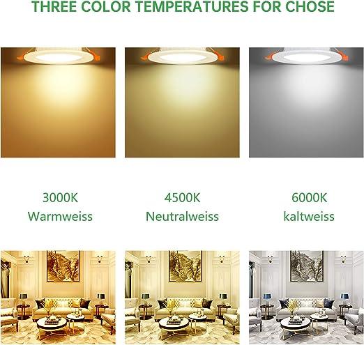 Spot led encastrable,Extra plat,5W 500lumen equivalent 50W incandescence,Rond ultraslim blanc froid 6000K,230V /éclairage plafond encastr/é,Pour salle de bain,Cuisine,Salon,Couloir,lot de 6