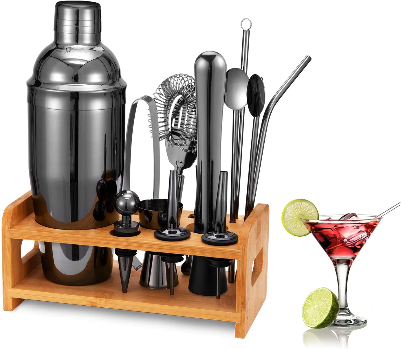 HB life 15 Pezzi Cocktail Shaker Set in 304 Acciaio Inossidabile Completo