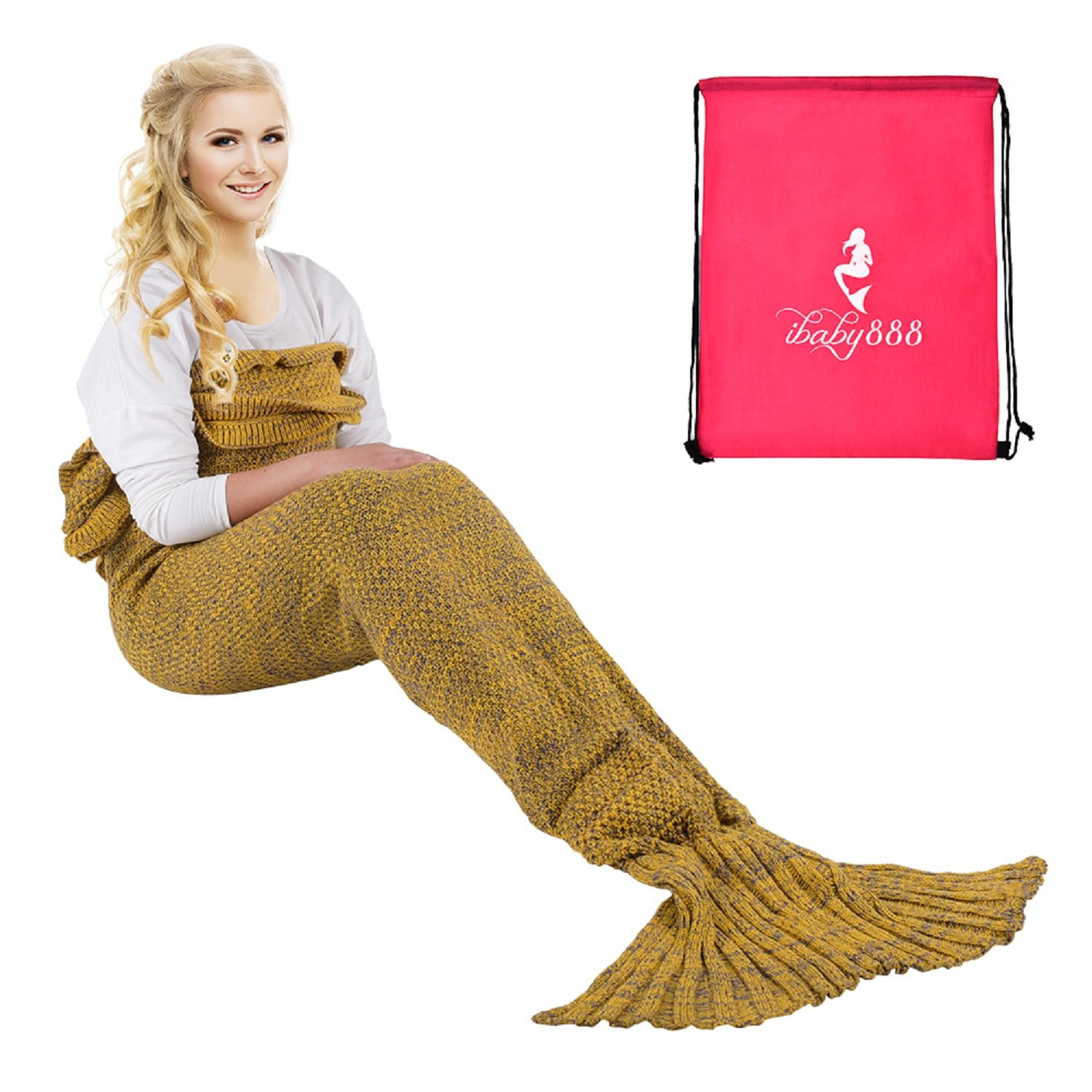 iBaby888 Wearable Mermaid Tail Blanket Crochet, All Seasons Warm Knitted Bed Blanket Sofa Quilt Living Room Sleeping Bag for Adults, Classic Pattern with Lace, 70.9'' x 35.5'' (180 x 90cm), Yellow