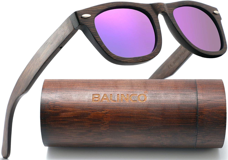 Balinco gafas de sol de bambú lentes polarizadas TAC y protección UV - para una visión intensa - sostenible, duradero, irrompible - en un conjunto práctico incluyendo la caja de regalo.
