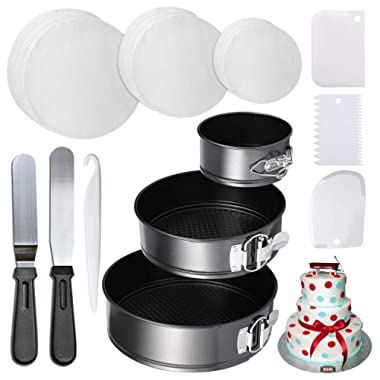 4  7  9  Springform Cake Pan and 150-piece Parchment Paper Liners,Non-stick Round Bakeware Cake Pan 2 Icing Spatula 3 Icing Smoother