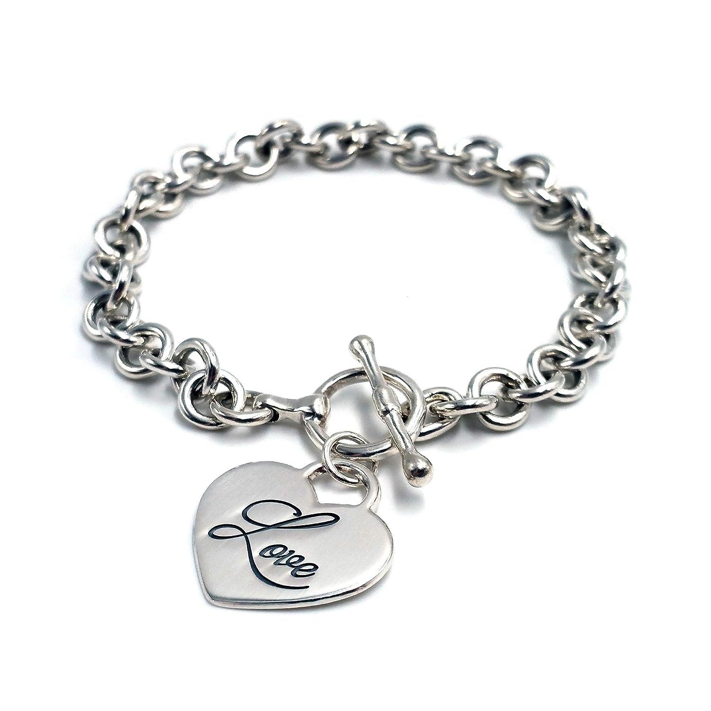 4cf353c27 Amazon.com: Engraved Heart Charm Round Link Bracelet in Sterling Silver, Heart  Bracelet, Bracelets for Women, Personalized Gift, Name Bracelet, Heart Tag  ...