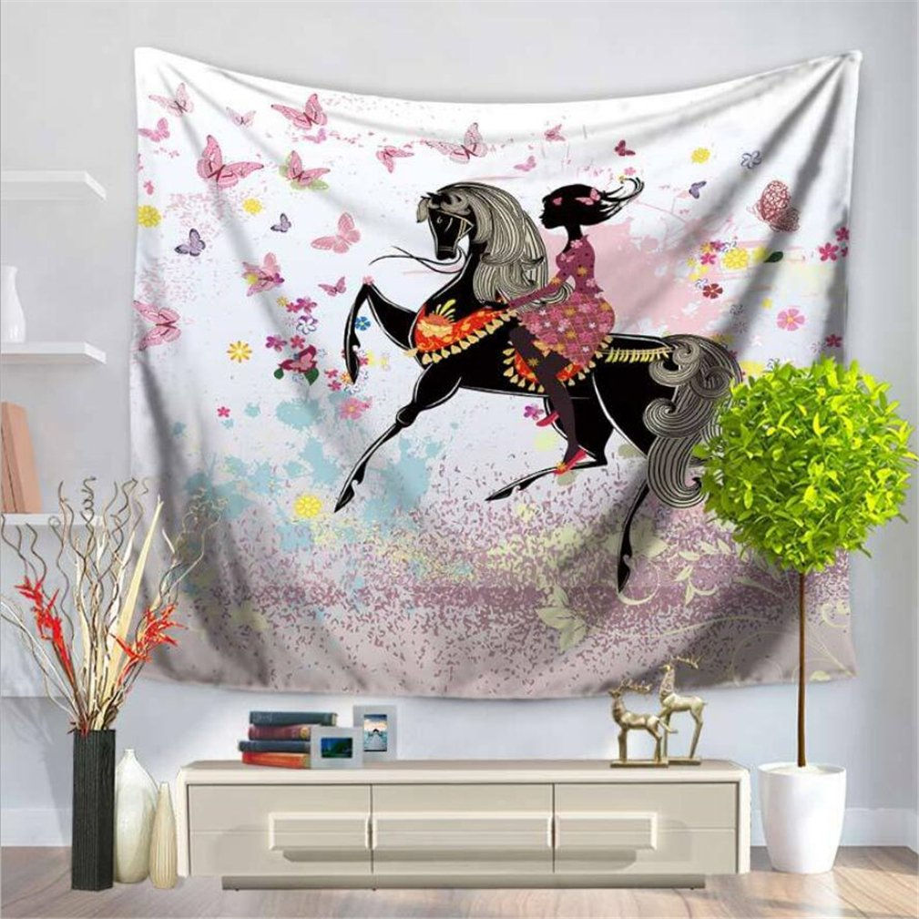Leofanger Fairy Tapestry Wall Hanging Butterfly Tapestry Dancing Girl Elf Girl Princess Tapestry Flower Girl Tapestry for Wedding Room Bedroom Living Room Decor Wall Tapestry