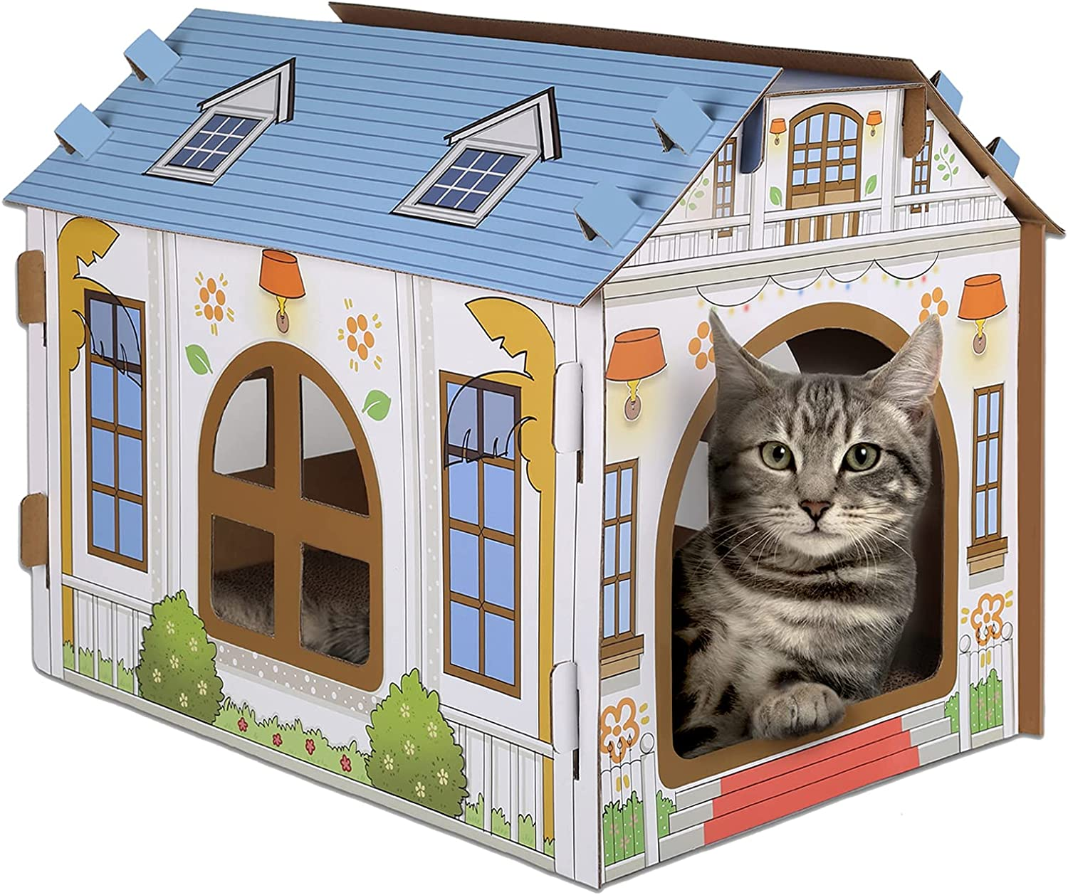 SEKAM Cardboard Cat House with Scratcher/Catnip, Cat Play House for Indoor Cats, Cat Scratching Toy, Cat Hideaway Furniture for Cat Birthday