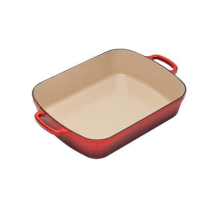 Com Le Creuset Signature Cast Iron Rectangular Roaster 5 25 Quart Cerise Cherry Red Roasting Pans Kitchen Dining