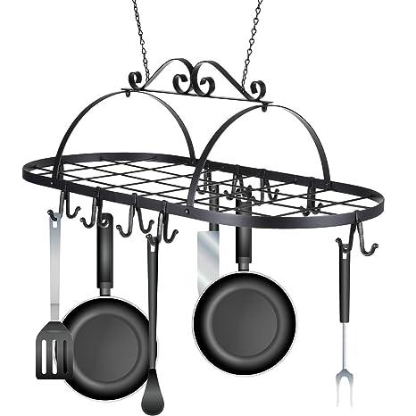 Ovalada de hierro Pot Rack, soporte colgador de techo (utensilios de cocina utensilios de
