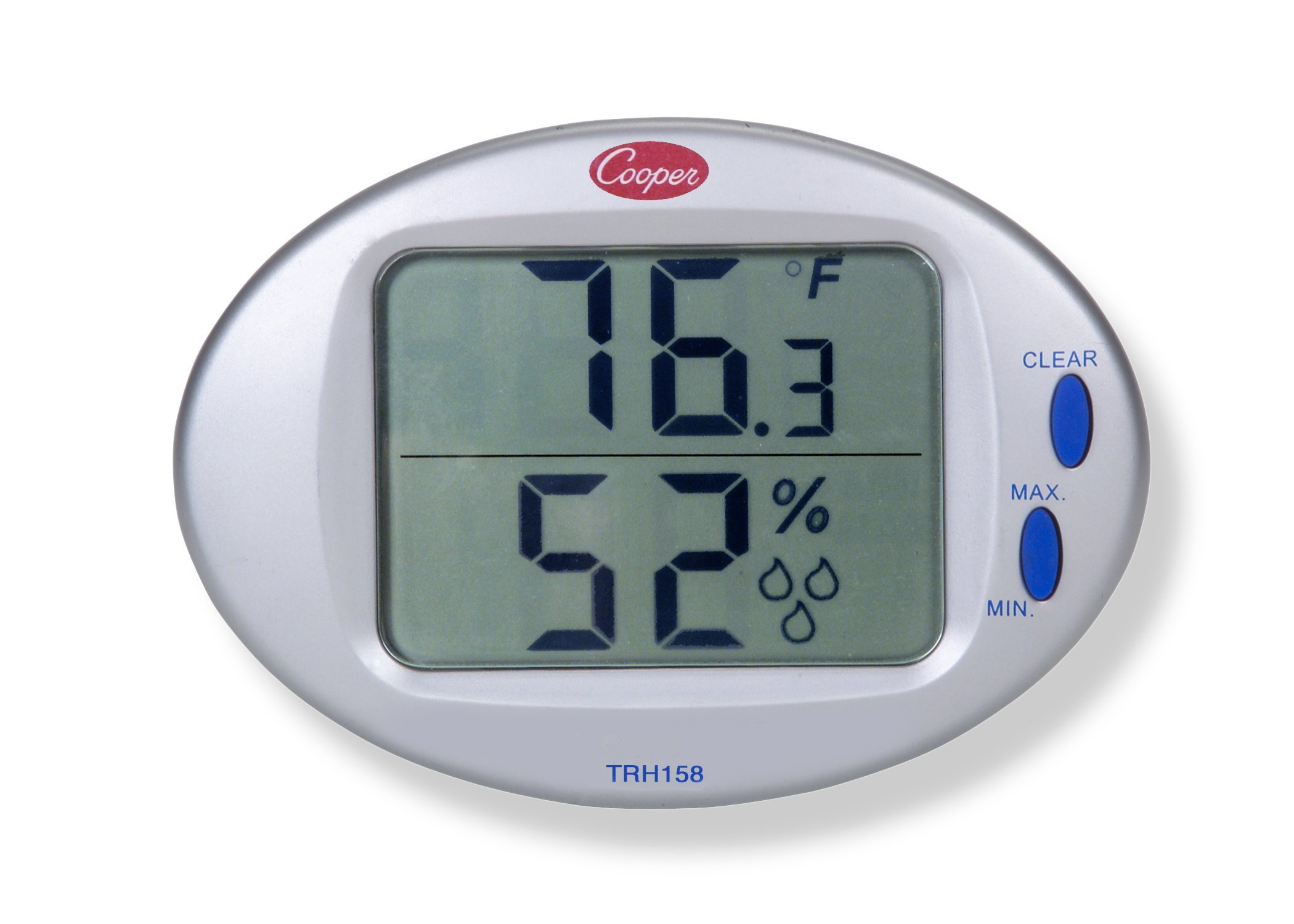 Cooper-Atkins TRH158-0-8 Digital Temperature/Humidity Wall Thermometer with Built-in Sensor, 32/122° F Temperature Range