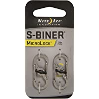 Nite Ize S-Biner Micro Lock, Polycarbonate S-Biner with Locking Lever, Stainless Steel, 2-Pack