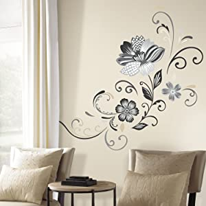 RoomMates Black and White Flower Scroll Peel and Stick Giant Wall Decals, ,