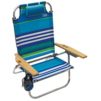 Rio Brands Beach Hi-Boy Folding 5 Position Lay Flat Beach Chair - More Than A Blue Stripe (ASC612-1700-1) : Sports & Outdoors