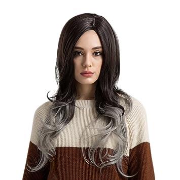 Peluca de pelo sintético pergrate para mujer, larga, ondulada ...