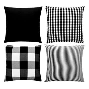 Pleasant Jojusis Farmhouse Black And White Buffalo Check Plaid Throw Pillow Covers Black Stripe Lattice Cotton Linen Set Cushion Cases For Sofa Bedroom Car Dailytribune Chair Design For Home Dailytribuneorg