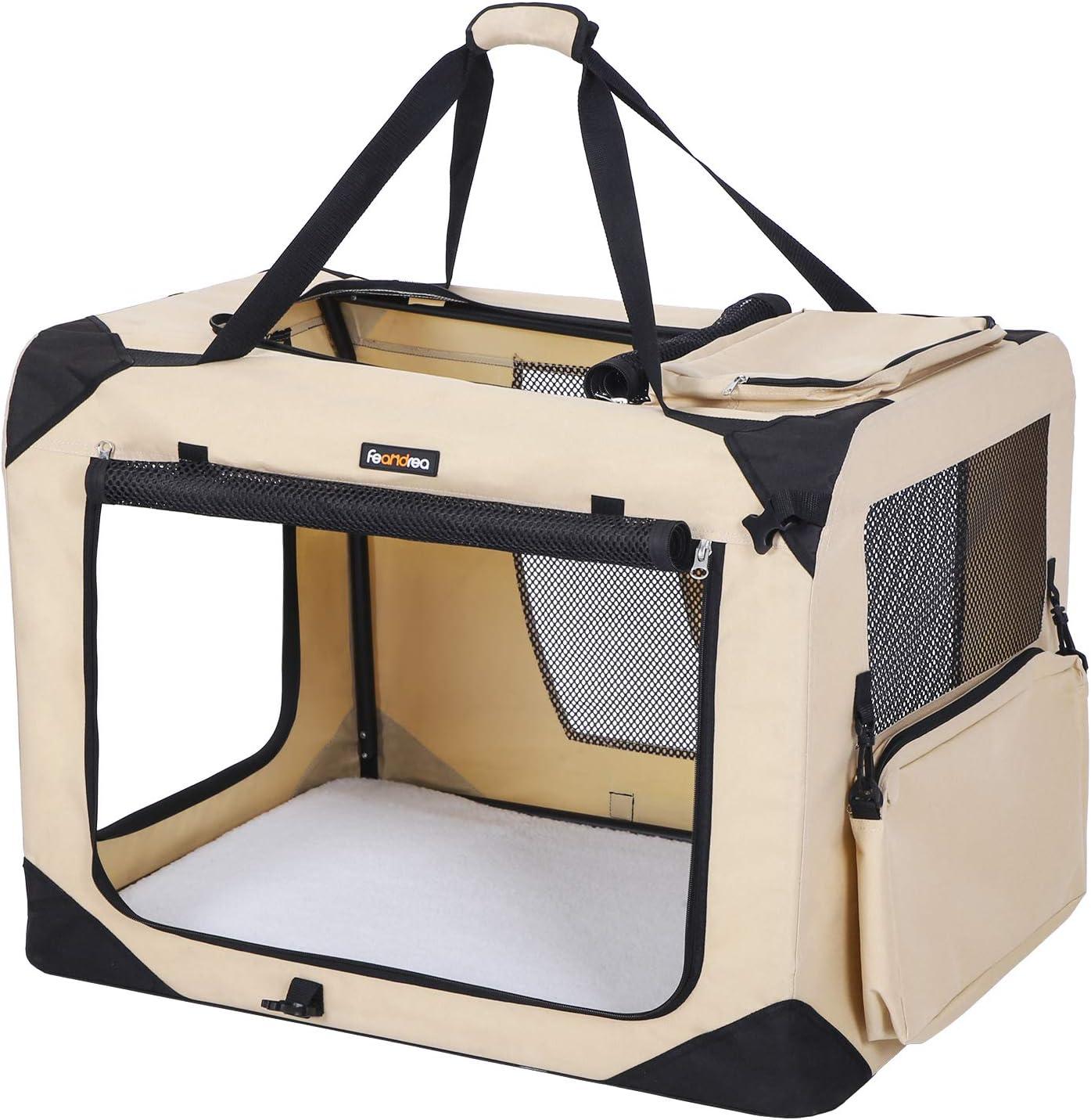 FEANDREA Bolsa de Transporte para Mascotas Transportín Plegable para Perro Portador Tela Oxford Beige XXXL 102 x 69 x 69 cm PDC10W: Amazon.es: Productos para mascotas