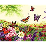 DIY Paint by Numbers Kit for Adults - Flowers and Butterflies   DIY Paint by Numbers Landscape Scene Paintings Arts Craft for Home Wall Decor   Pre-Printed Art-Quality Canvas, 3 Brushes, 24 Paints