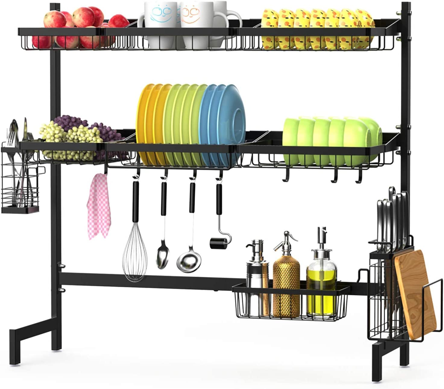 Over The Sink Dish Drying Rack F Color 3 Tier Large Stainless Steel Dish Drying Rack For Kitchen Counter Dish Drainer Shelf With Utensils Holder Black