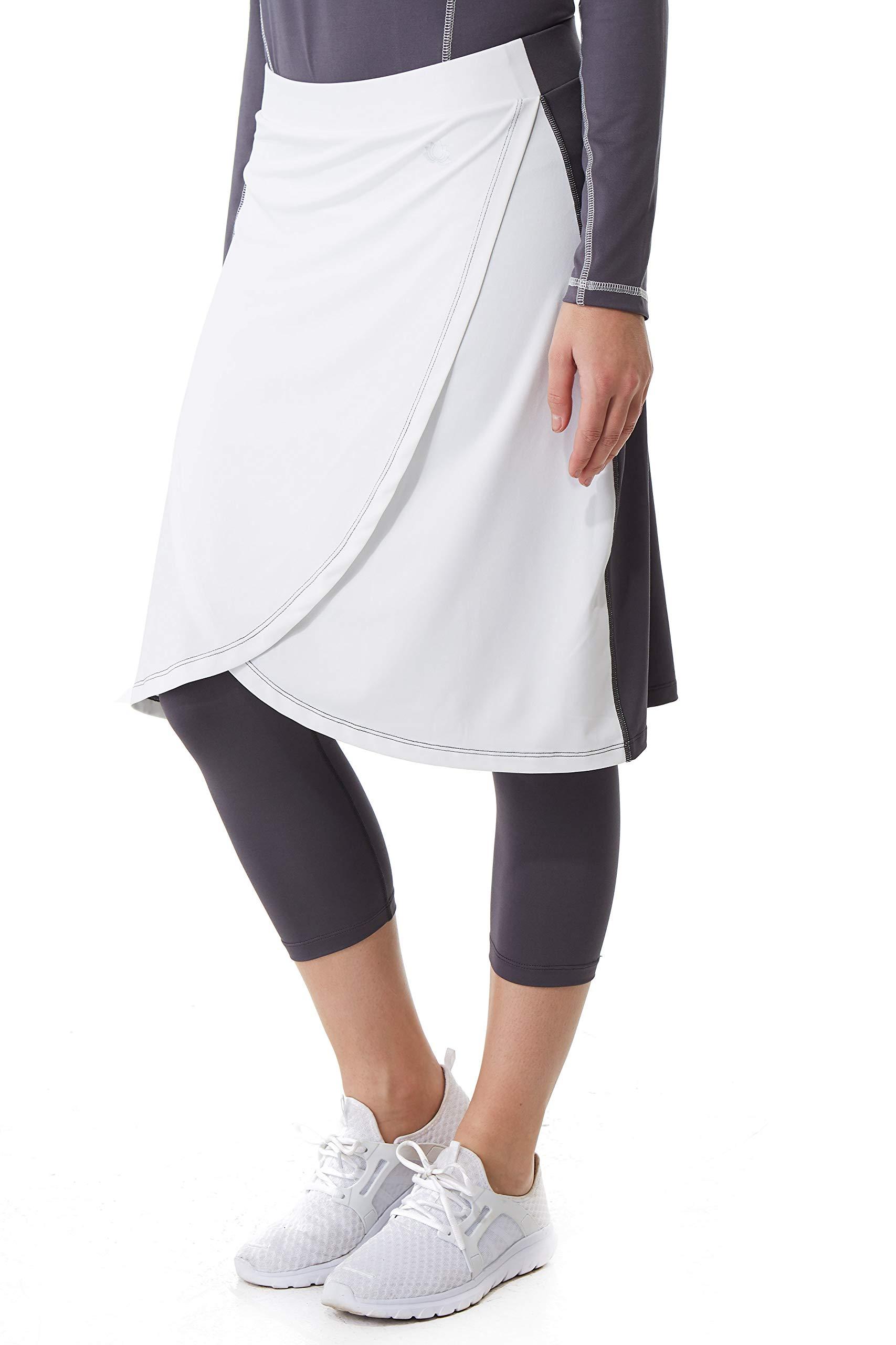 Snoga Athletics Two Tone Faux Wrap Workout Skirt - Gray/White, Small