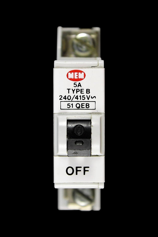 MEM 5 AMP TYPE B M6 MCB CIRCUIT BREAKER 51QEB