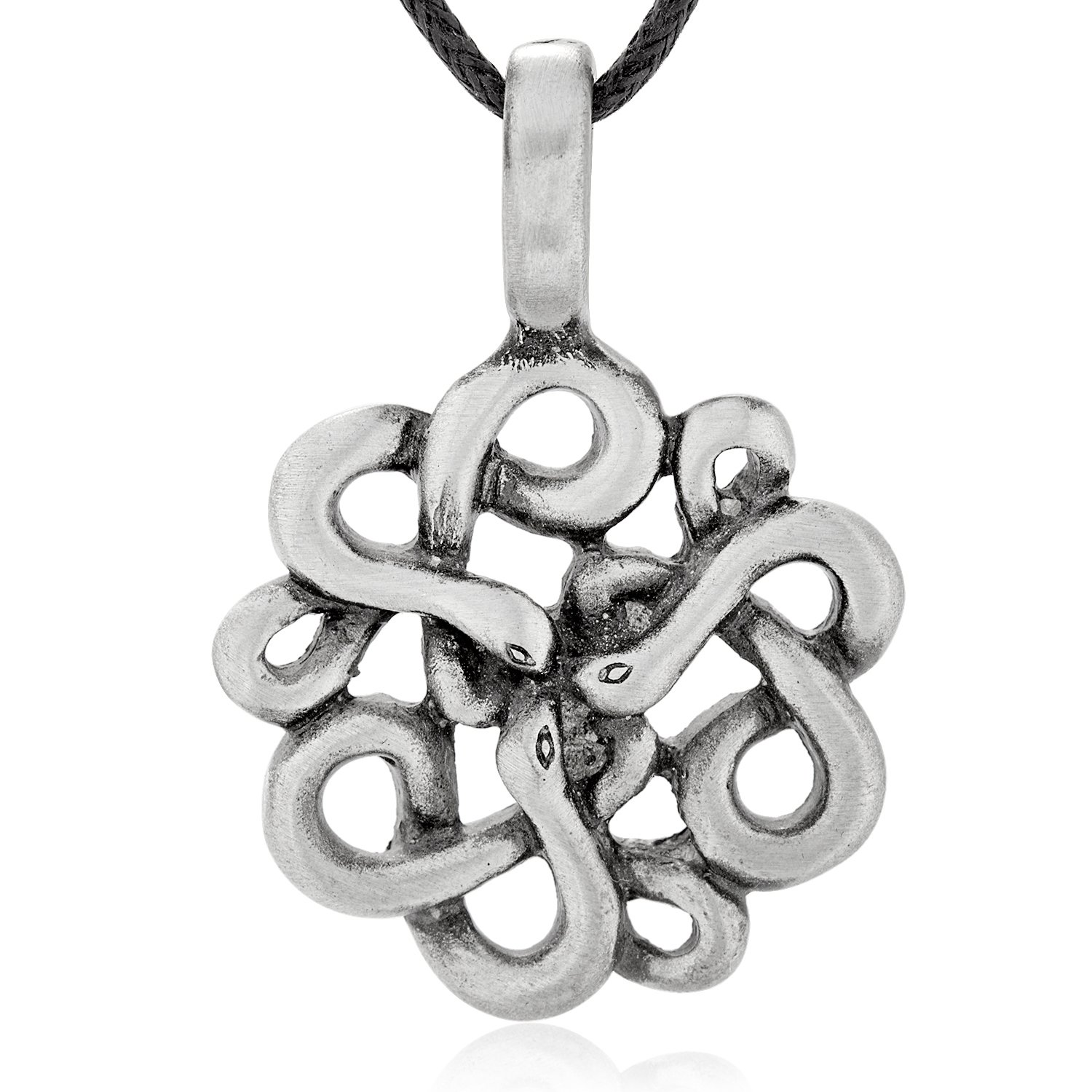 Dan's Jewelers Celtic Adder Snake Pendant Necklace + Silver Plated Clasp, Fine Pewter Jewelry