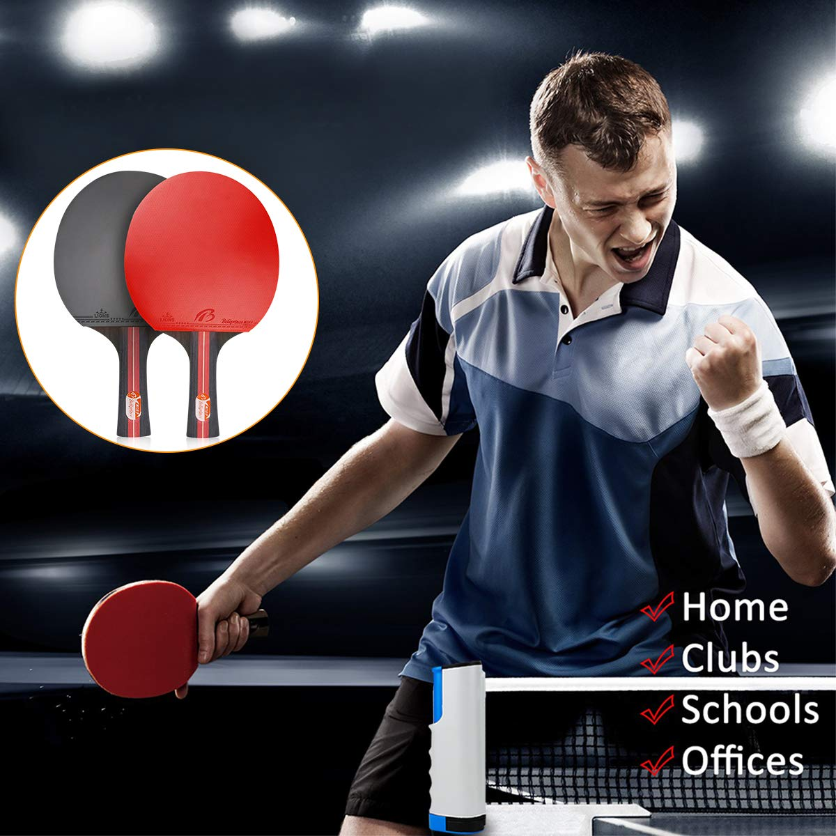 Adatto a Qualsiasi Tavolo 1 Regolabile Rete per attivit/à Allaperto al Coperto 4 Racchetta//Pagaia 8 Palline//Sfere Powcan Set da Ping Pong Racchette da Ping Pong Racket
