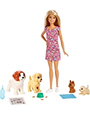 Barbie FXH08 Doggy Daycare Doll, Blonde and Pets Playset, with Puppy That Poops and One That Pees, Plus Colour-Change Paper and More, Multicolour