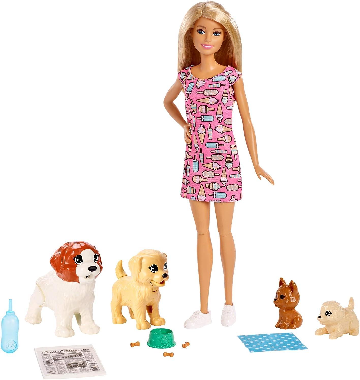 Barbie-FXH08 Barbie y su guardería de perritos, muñeca con mascotas y accesorios, multicolor (Mattel FXH08)