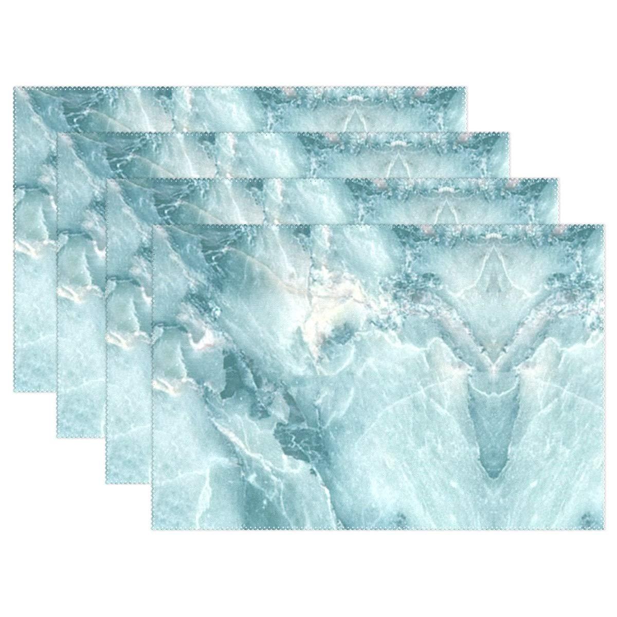 Lambbd Lewissq ブルー 大理石デザイン ダイニング 耐熱 プレースマット 汚れにくい 滑り止め 洗濯可能 キッチンテーブルマット 12x18インチ 12x18x4 in ブラック 12x18x4 in  B07L2XZNCQ