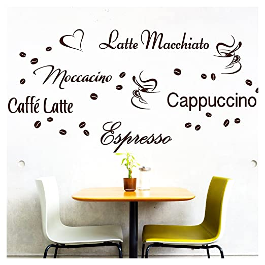 Wandora Wandtattoo Kaffee-Sorten I braun I Herz Kaffeetasse ...
