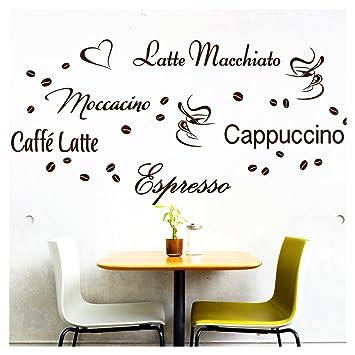 Wandora Wandtattoo Kaffee-Sorten I braun I Herz Kaffeetasse Kaffeebohnen  Küche Esszimmer Sticker Aufkleber Wandaufkleber Wandsticker G006