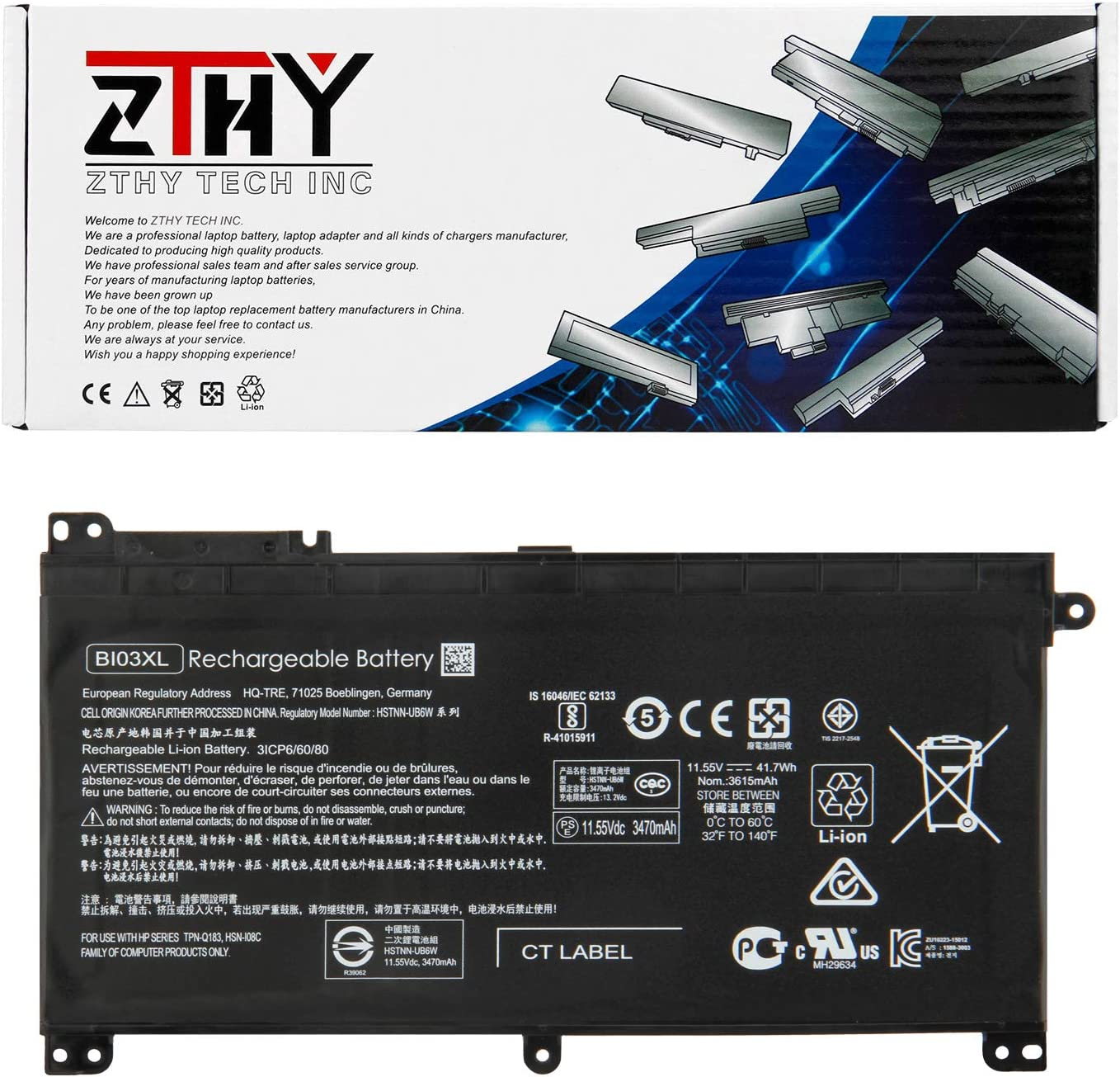 ZTHY BI03XL ON03XL Laptop Battery for HP Pavilion X360 13-U000 M3-U000 M3-U001DX U103DX U100TU U105DX U118TU Stream 14-AX000 14-ax010wm 14-ax020wm 14-ax030wm 843537-541 915230-541 41.7Wh