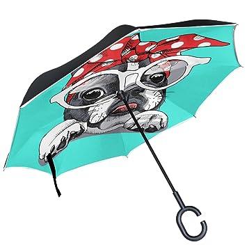ALAZA francés Bulldog diadema gafas diseño doble capa resistente al viento Reverse paraguas
