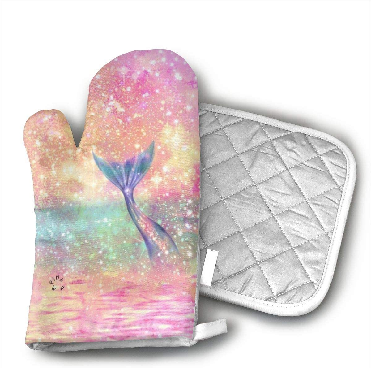 STRWBfhk Glitter Pink Mermaid Oven Mitts,Heat Resistant to 503 F,Non Slip Kitchen Oven Gloves for Cooking,Baking,Grilling,Barbecue Potholders