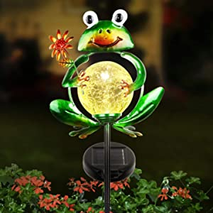 LUNSY Garden Solar Lights Outdoor Decorative, Metal Frog Shape, Outdoor Waterproof Stake Lights with 2 Feet, Auto ON/OFF Solar Powered Light for Lawn, Backyard, Patio, Pathway