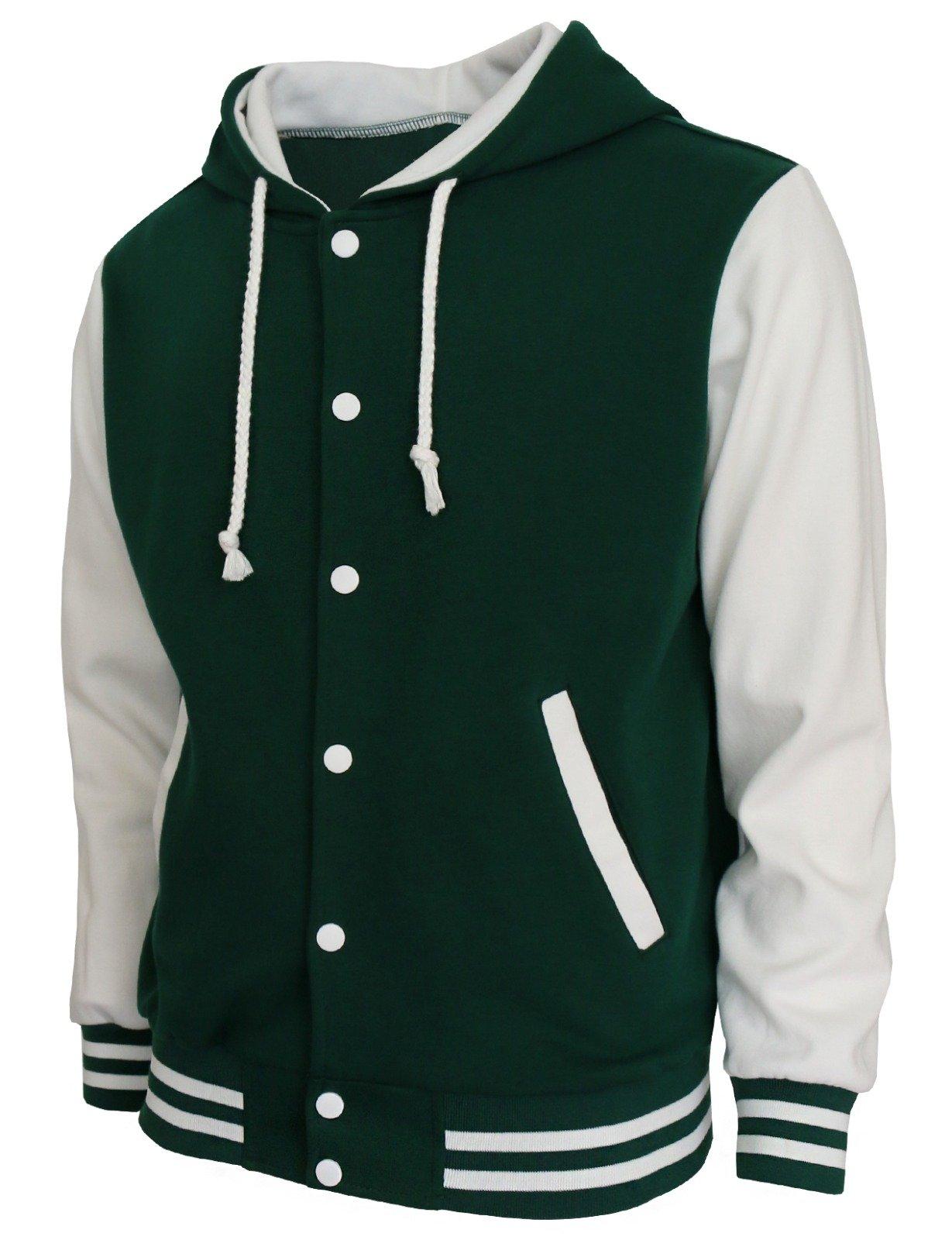 BCPOLO Hoodie Baseball Jacket Varsity Baseball Jacket Cotton Letterman Jacket Green-White-XL by BCPOLO