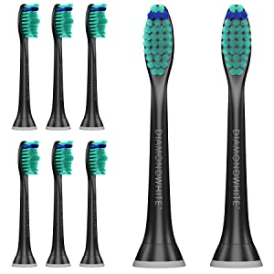 DiamondWhite Replacement Toothbrush Heads for Sonicare, Fits 2 Series, ProResults, FlexCare, Healthy White, Platinum, EasyClean, DiamondClean, Gum Health models (Black) (8-Pack)